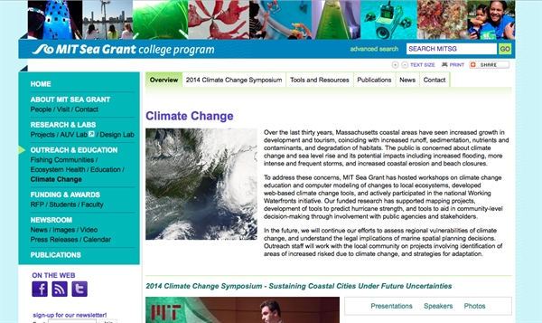 MIT Sea Grant Climate Change Web Site