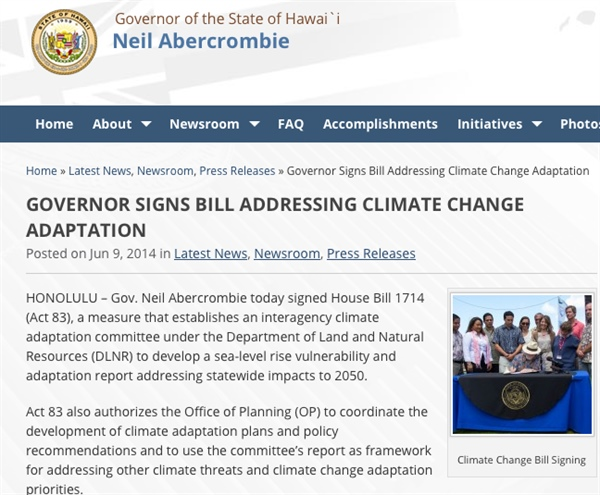 Hawai'i Climate Change Adaptation Planning (Act 83, 2014)