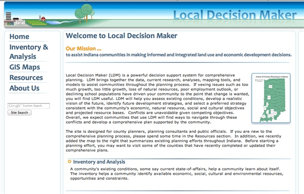 Local Decision Maker; Assisting Indiana communities in making informed and integrated land use and economic development decisions