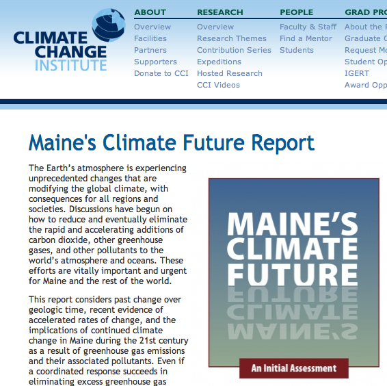Maine's Climate Future Report